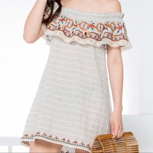 THML Off the shoulder Dress Embroidered